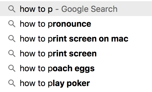 google autocomplete in action